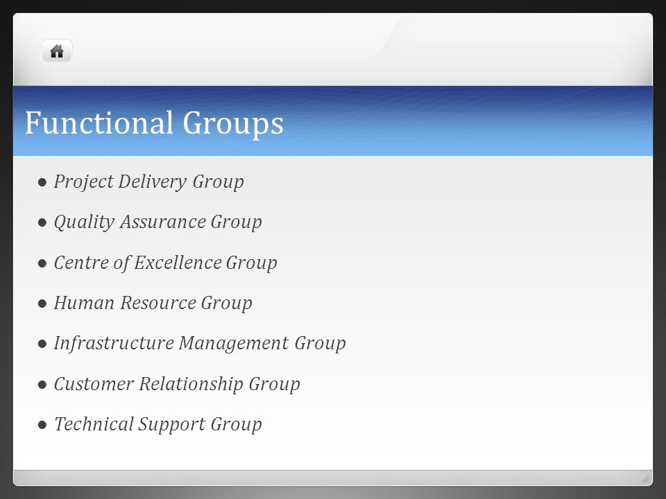 Functional Groups Project Delivery Group Quality Assurance Group