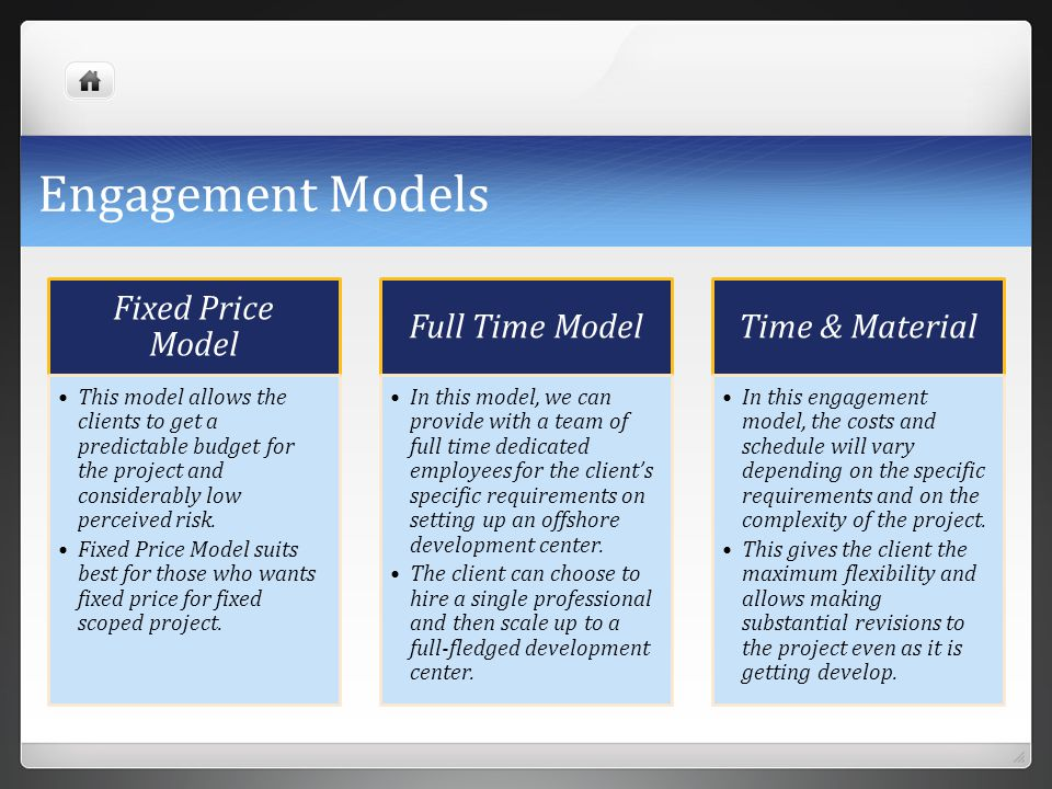 Engagement Models Fixed Price Model Full Time Model Time & Material