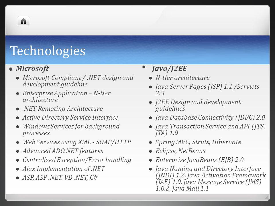 Technologies Microsoft Java/J2EE