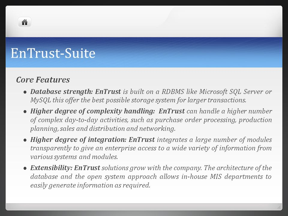 EnTrust-Suite Core Features