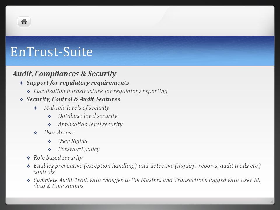 EnTrust-Suite Audit, Compliances & Security
