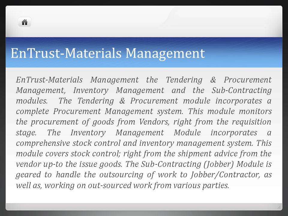 EnTrust-Materials Management