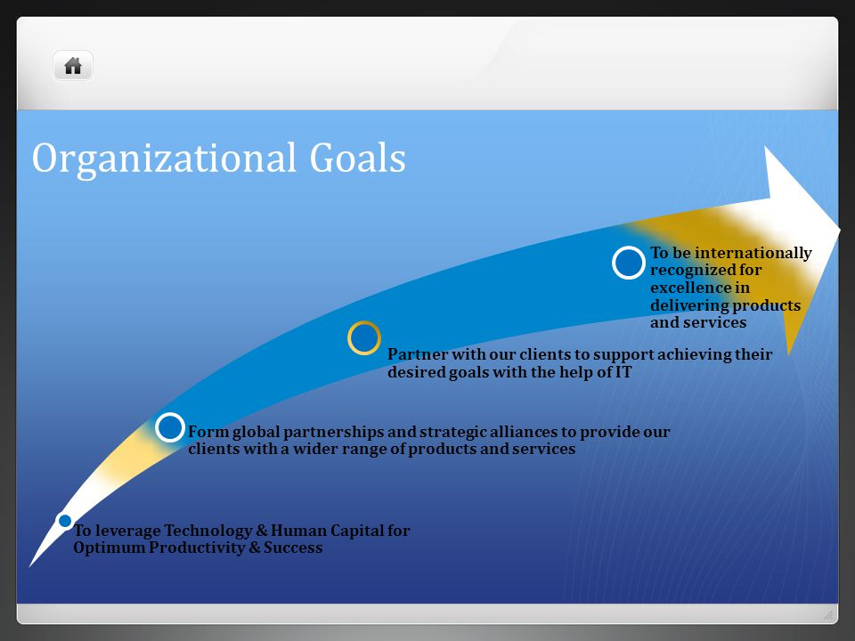 Organizational Goals To leverage Technology & Human Capital for Optimum Productivity & Success.
