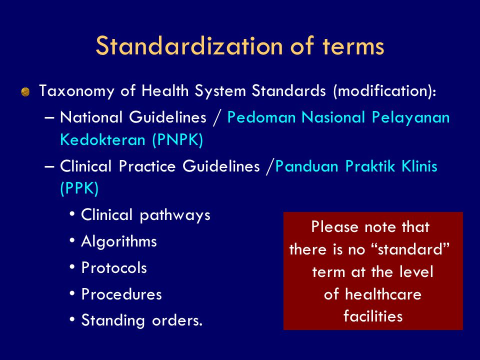 Standardization of terms