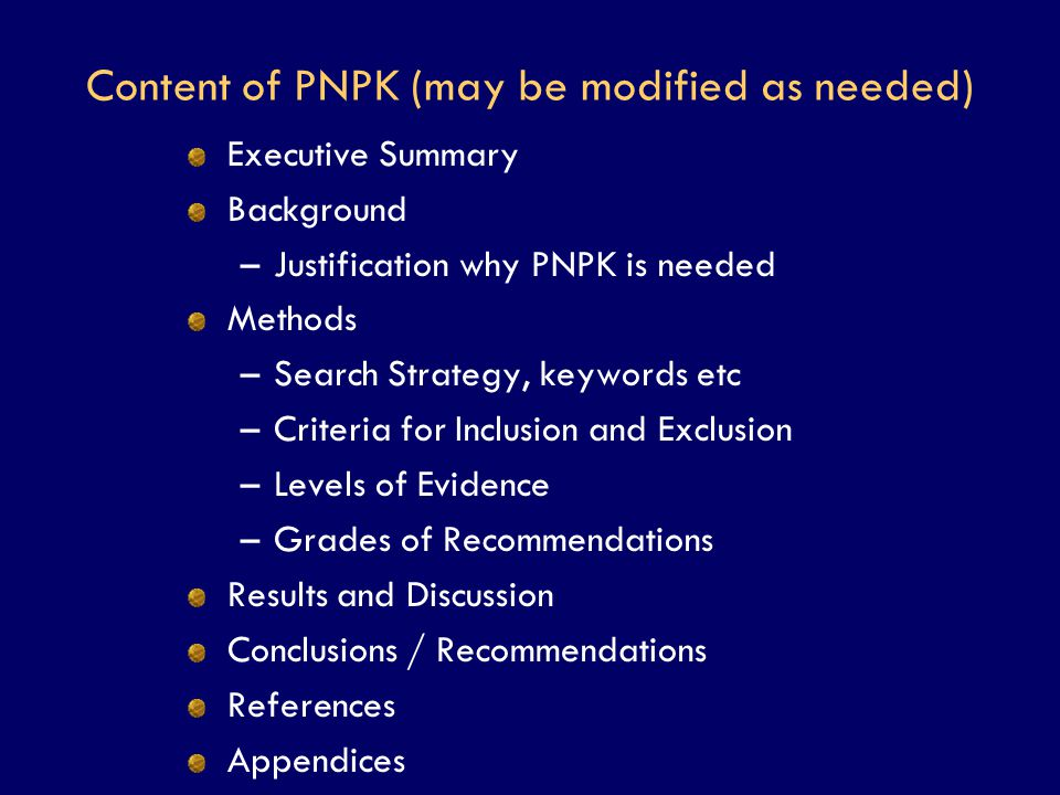 Content of PNPK (may be modified as needed)