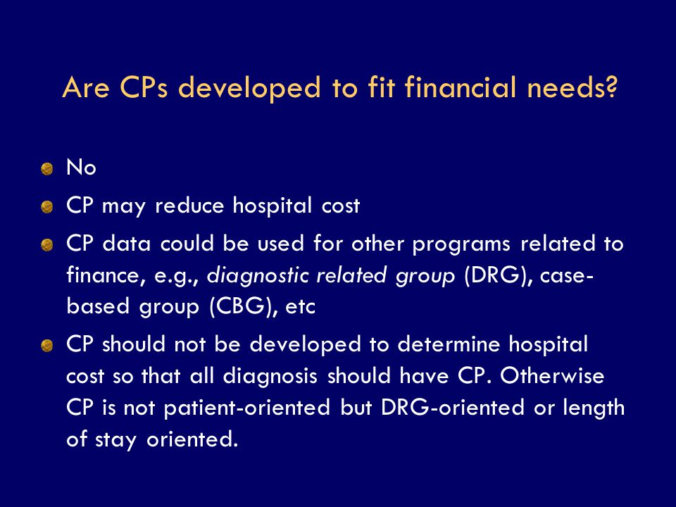 Are CPs developed to fit financial needs