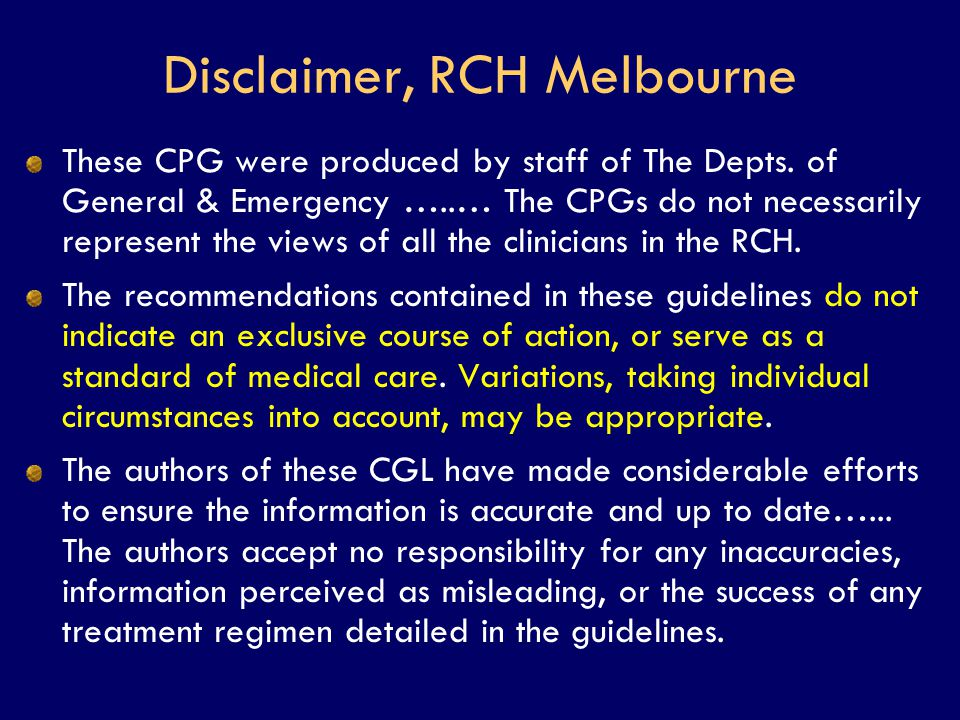 Disclaimer, RCH Melbourne