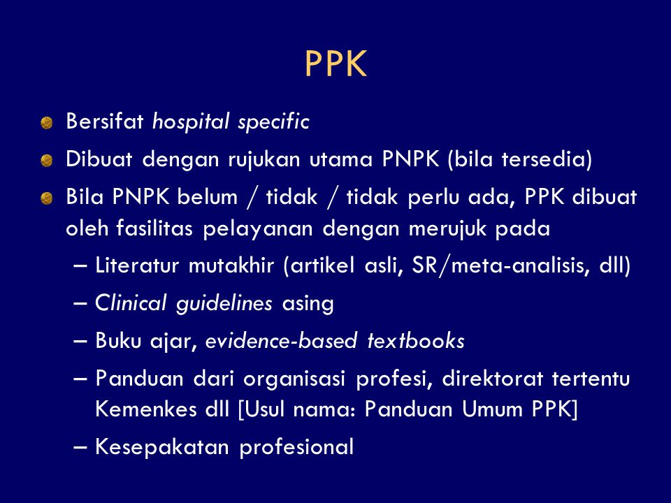 PPK Bersifat hospital specific