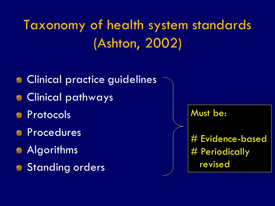 Taxonomy of health system standards (Ashton, 2002)