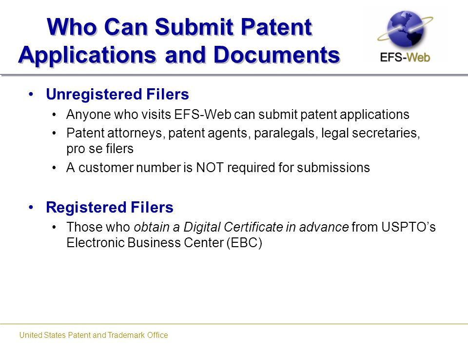 Who Can Submit Patent Applications and Documents