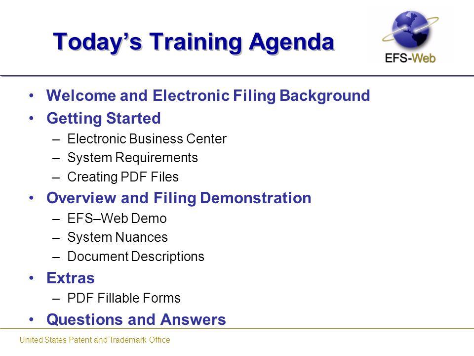 Today's Training Agenda