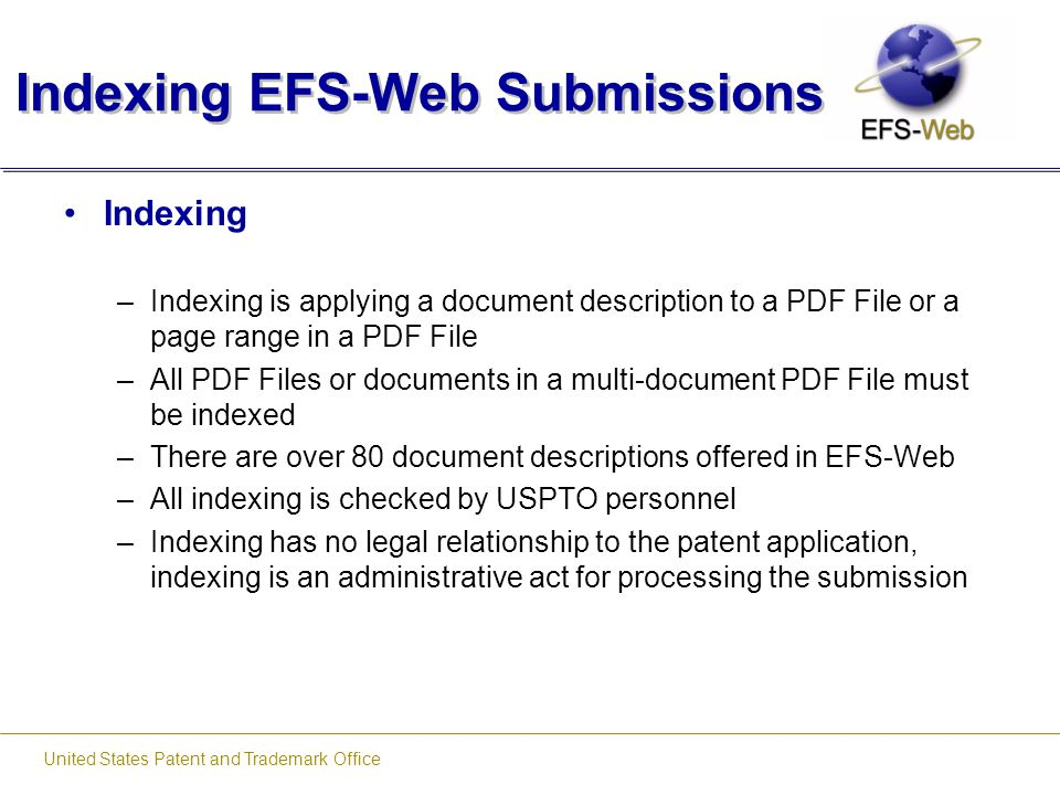 Indexing EFS-Web Submissions