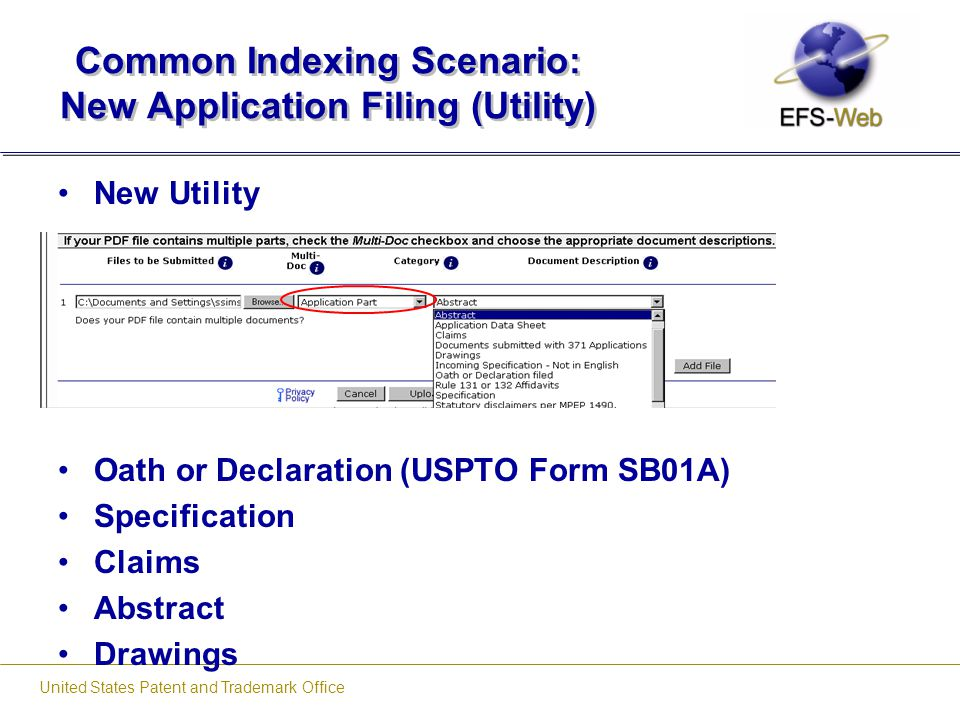 Common Indexing Scenario: New Application Filing (Utility)