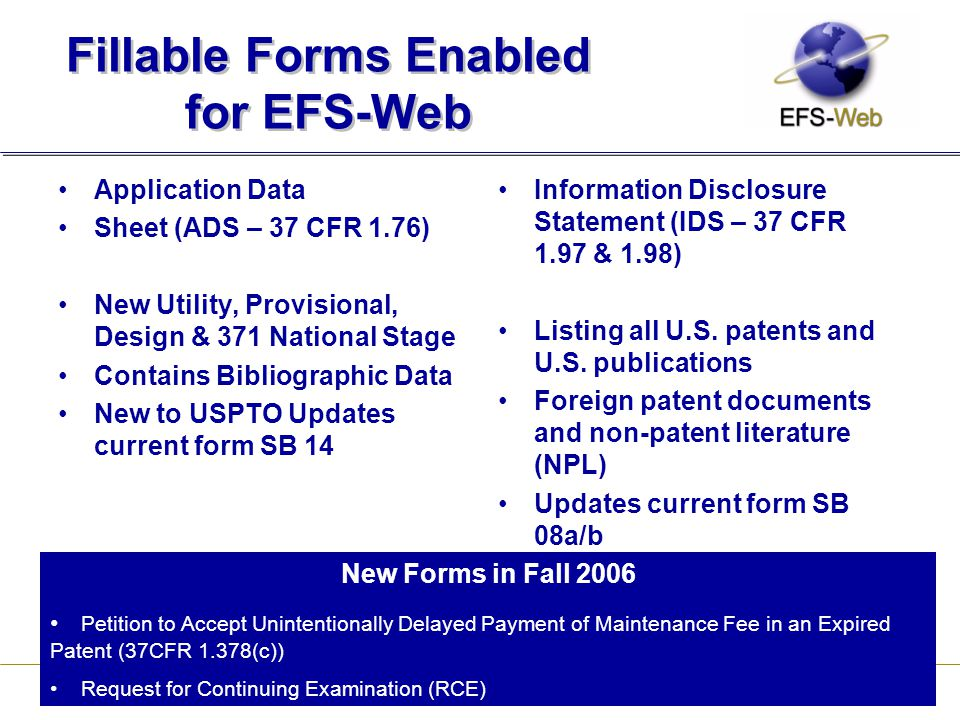 Fillable Forms Enabled for EFS-Web