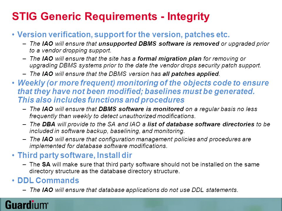 STIG Generic Requirements - Integrity