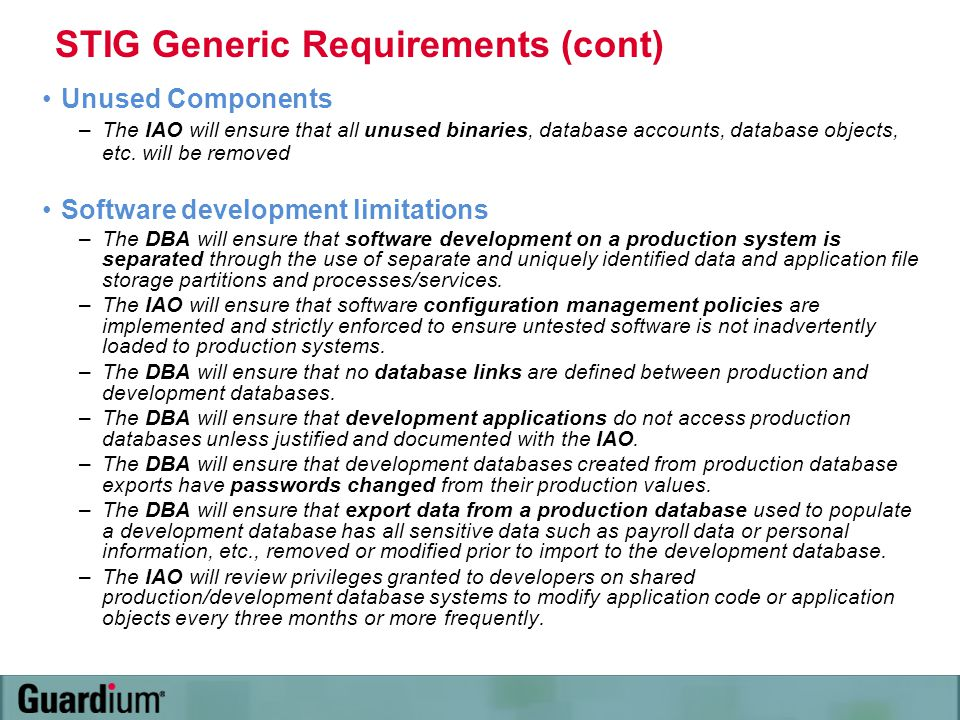 STIG Generic Requirements (cont)
