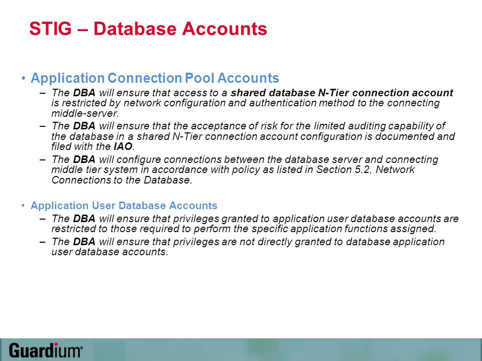STIG – Database Accounts