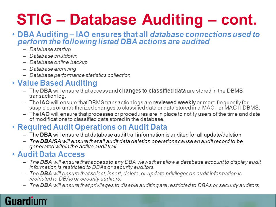 STIG – Database Auditing – cont.