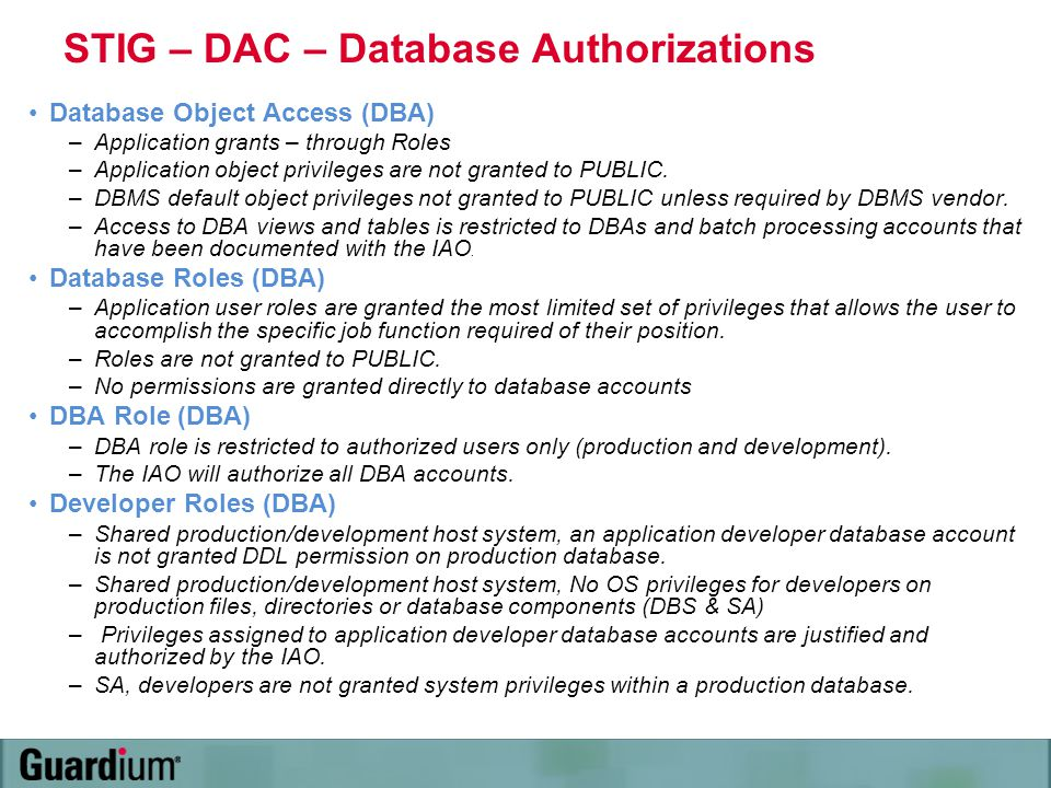 STIG – DAC – Database Authorizations