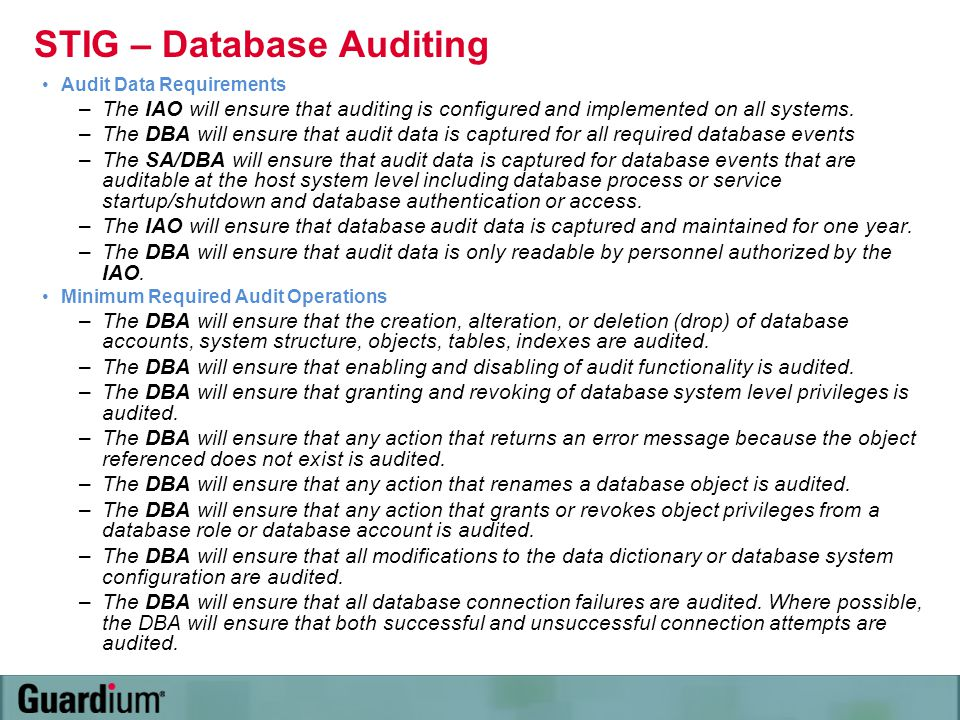 STIG – Database Auditing