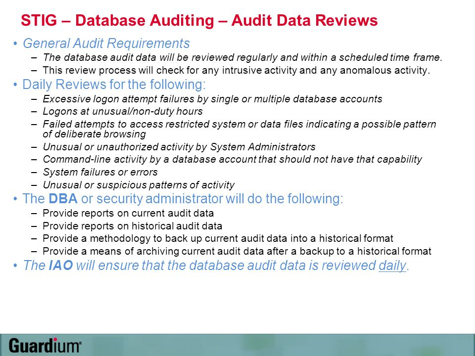 STIG – Database Auditing – Audit Data Reviews