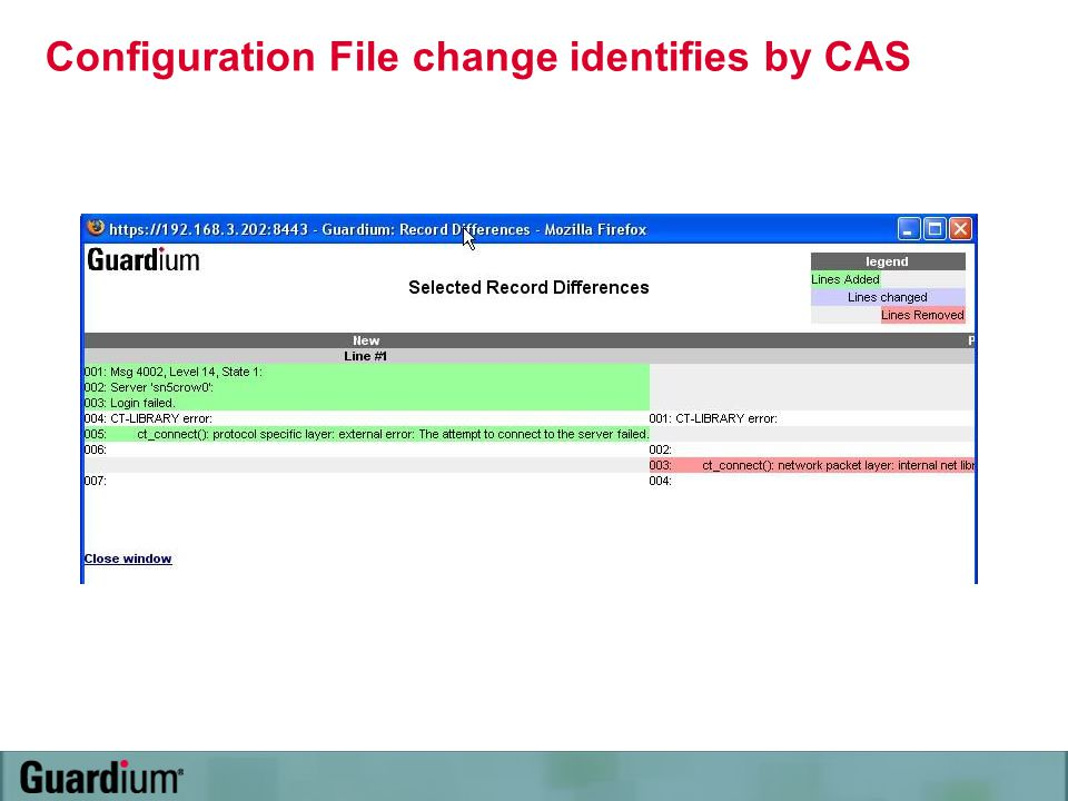 Configuration File change identifies by CAS