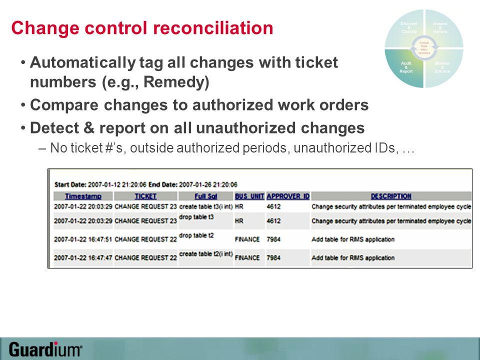 Change control reconciliation