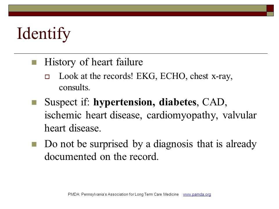 Identify History of heart failure