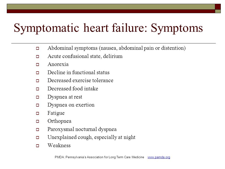 Symptomatic heart failure: Symptoms
