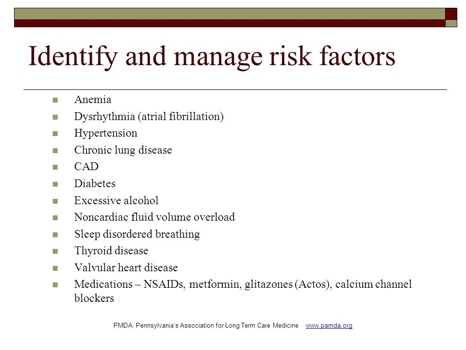 Identify and manage risk factors