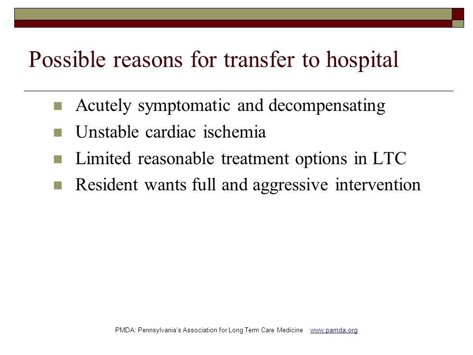 Possible reasons for transfer to hospital