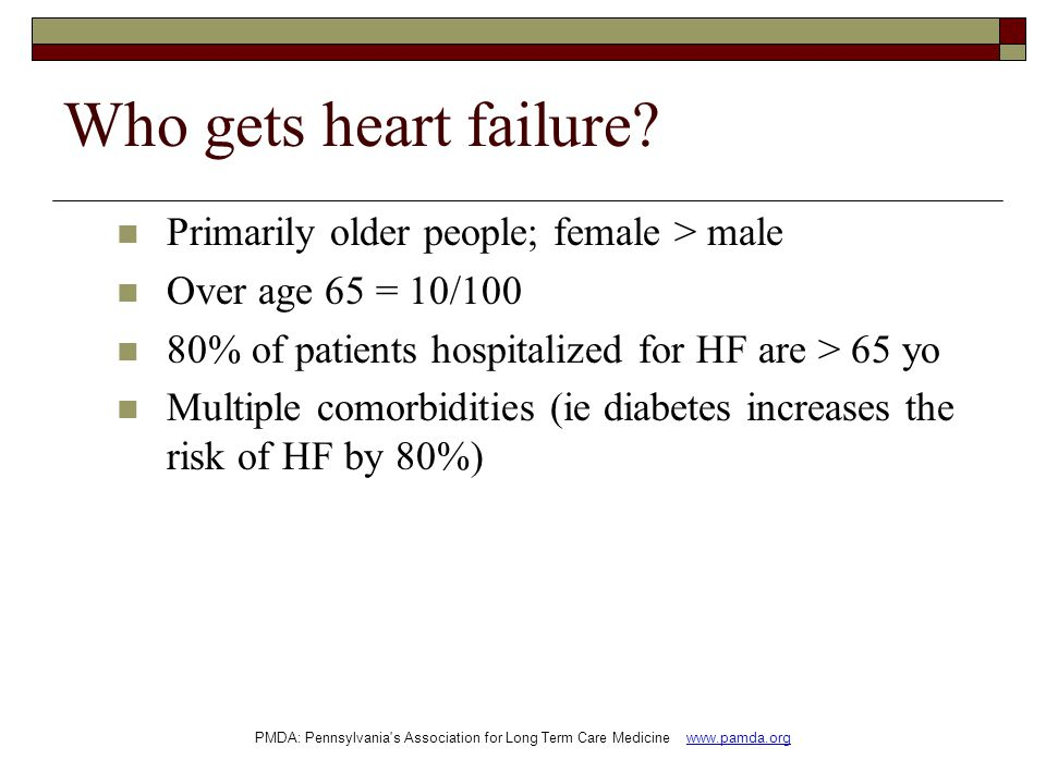Who gets heart failure Primarily older people; female > male