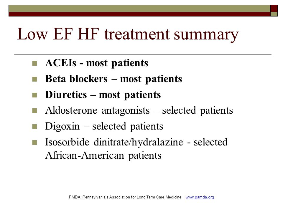 Low EF HF treatment summary