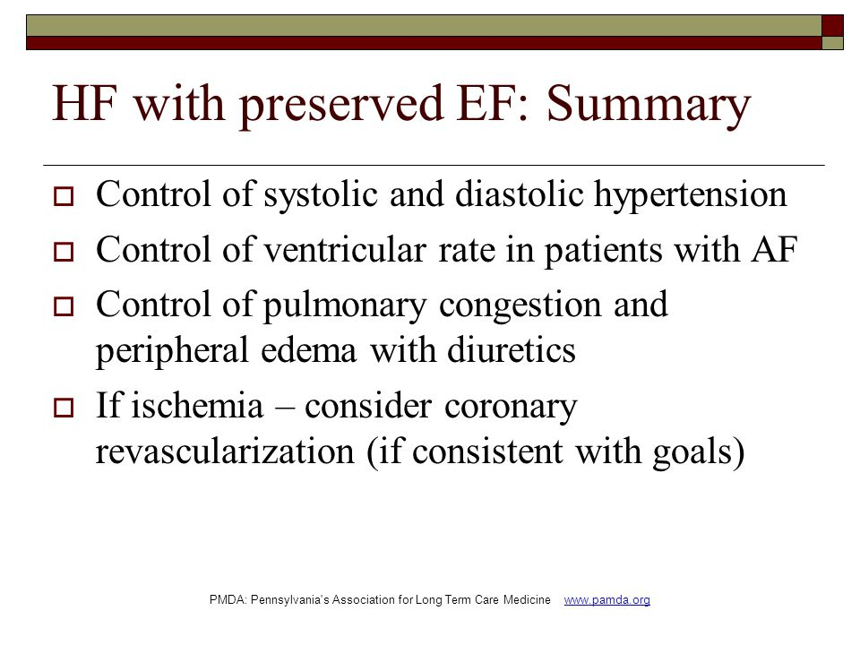 HF with preserved EF: Summary