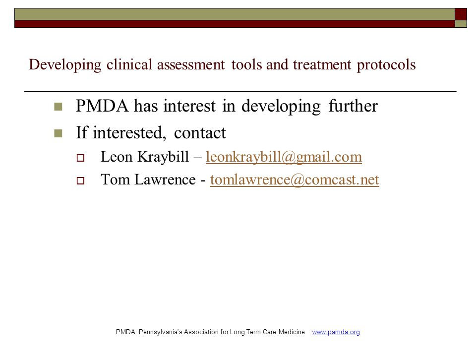 Developing clinical assessment tools and treatment protocols