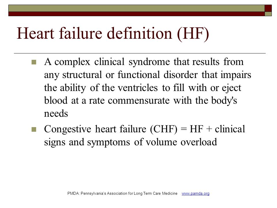 Heart failure definition (HF)