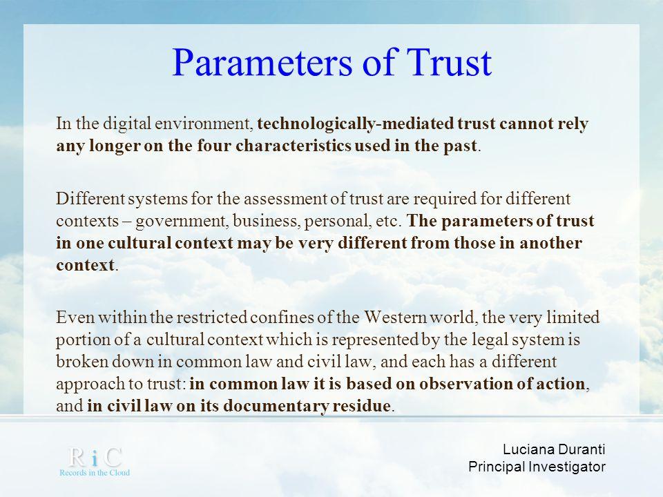 Parameters of Trust