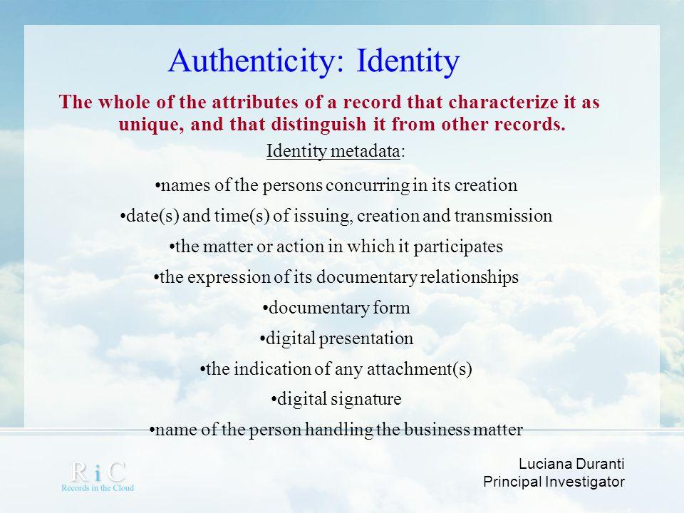 Authenticity: Identity