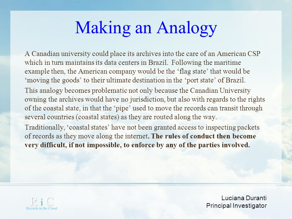 Making an Analogy