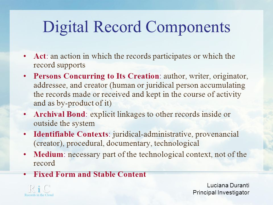 Digital Record Components