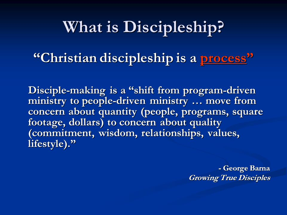 Christian discipleship is a process