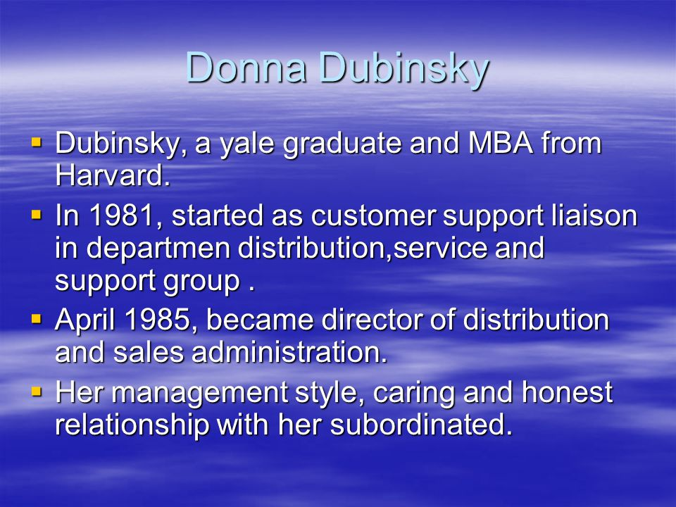 the donna dubinsky and apple computer case Hbs cases are developed solely as the basis for class discussion  (operating  system) to other handheld computer manufacturers  adamant that palm's future  should not follow apple's downfall in the pc  palm's co-founders – jeff hawkins  (product technology) and donna dubinsky (ceo) – argued.