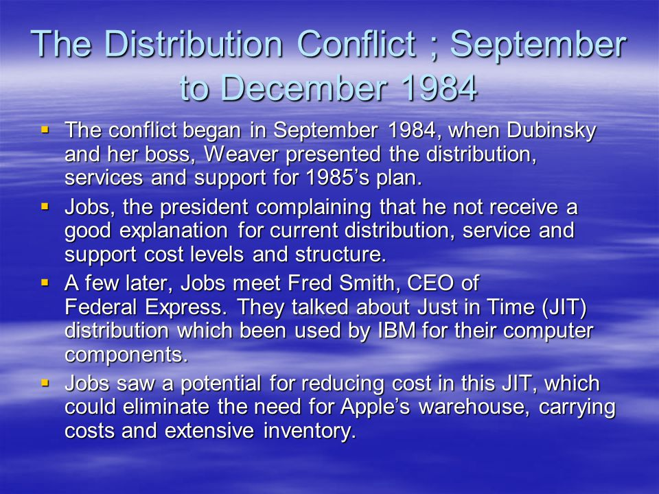 The Distribution Conflict ; September to December 1984