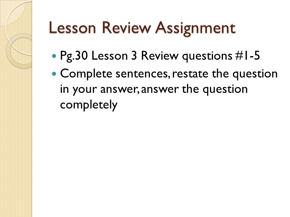 Lesson Review Assignment