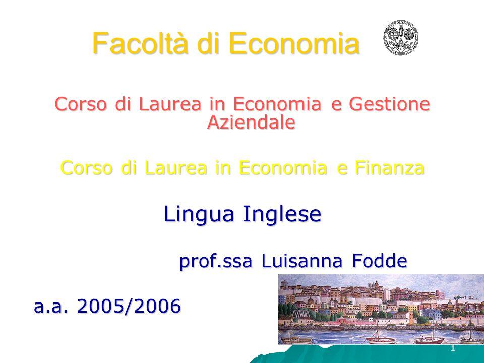 Facoltà di Economia Lingua Inglese