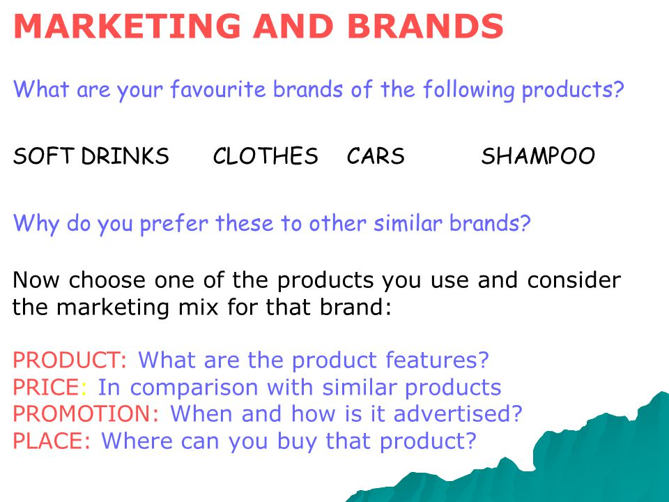 MARKETING AND BRANDS What are your favourite brands of the following products SOFT DRINKS CLOTHES CARS SHAMPOO.