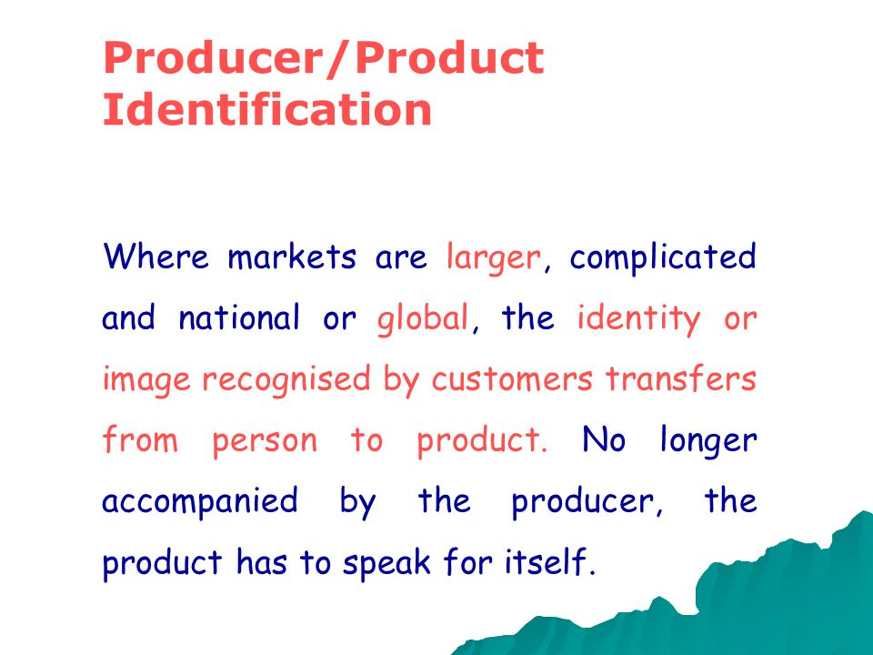 Producer/Product Identification