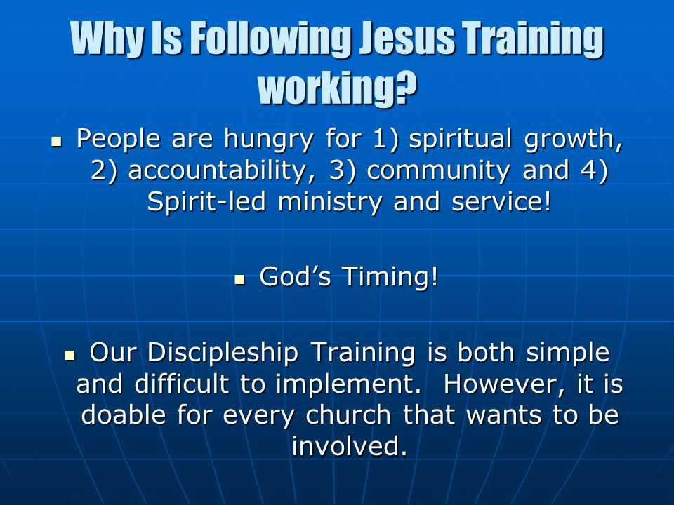 Why Is Following Jesus Training working