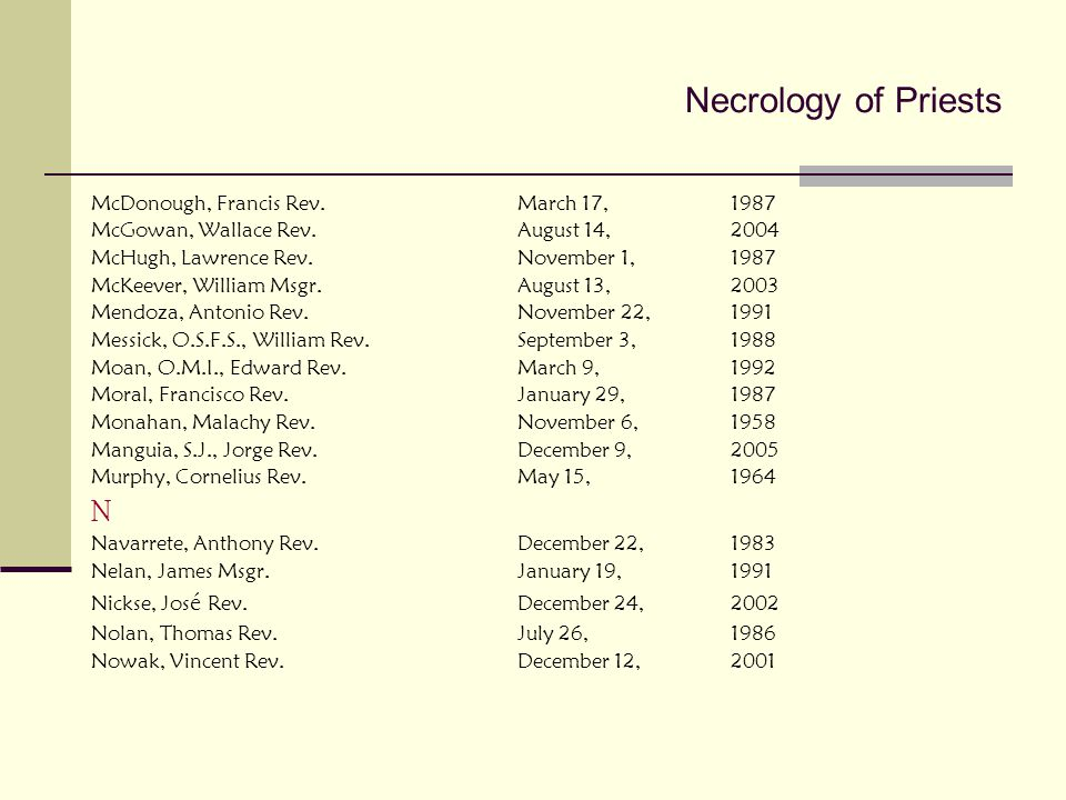 Necrology of Priests N McDonough, Francis Rev. March 17, 1987