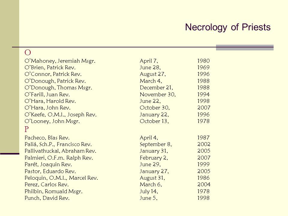 Necrology of Priests O P O'Mahoney, Jeremiah Msgr. April 7, 1980